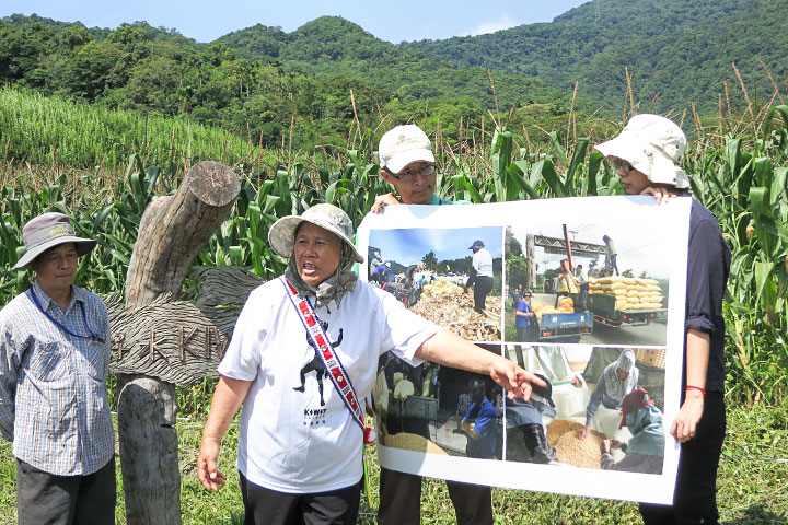 奇美部落經理蔣金英(左二)講解硬質玉米六級化過程