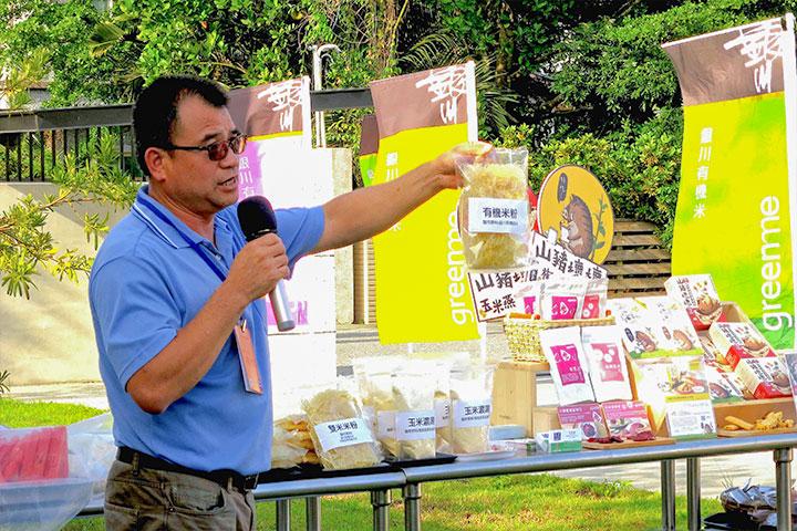 樂弟食品(銀川米)負責人賴兆炫分享六星計畫雙米餅二級加工環節過程