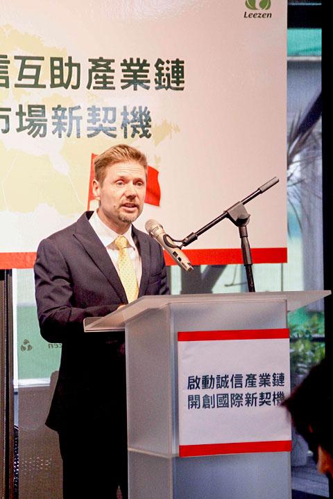 加拿大新任駐台代表芮喬丹Jordan-Reeves表示,肯定里仁串聯產銷消的商業推動模式,並感謝台灣消費者支持愛用。