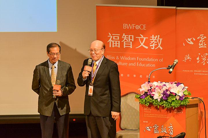香港理工大學前校長潘宗光(左)與國立臺灣大學前任校長李嗣涔(右)
