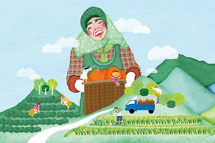 綠色臺灣主題封面:農友捧著辛勤耕種而收穫的飽滿天然好食,想邀所有消費者一起來支持本土好農產,珍惜我們的綠色臺灣