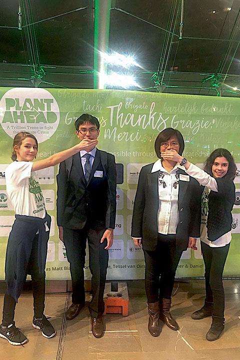 慈心基金會受大會種樹大使邀請倡議「停止說話、開始行動」的種樹理念