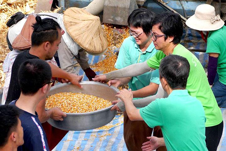 農作物盛產時,慈心工作人員協助農友完成加工流程