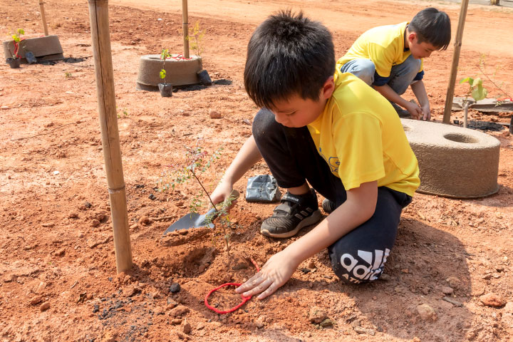 何浦國小學童及許多金門在地居民,熱烈響應慈心金門種樹活動。(金門縣林務所提供)